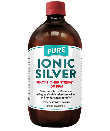 Ionic Silver Practitioner Strength 100 PPM 500ml GLASS Bottle
