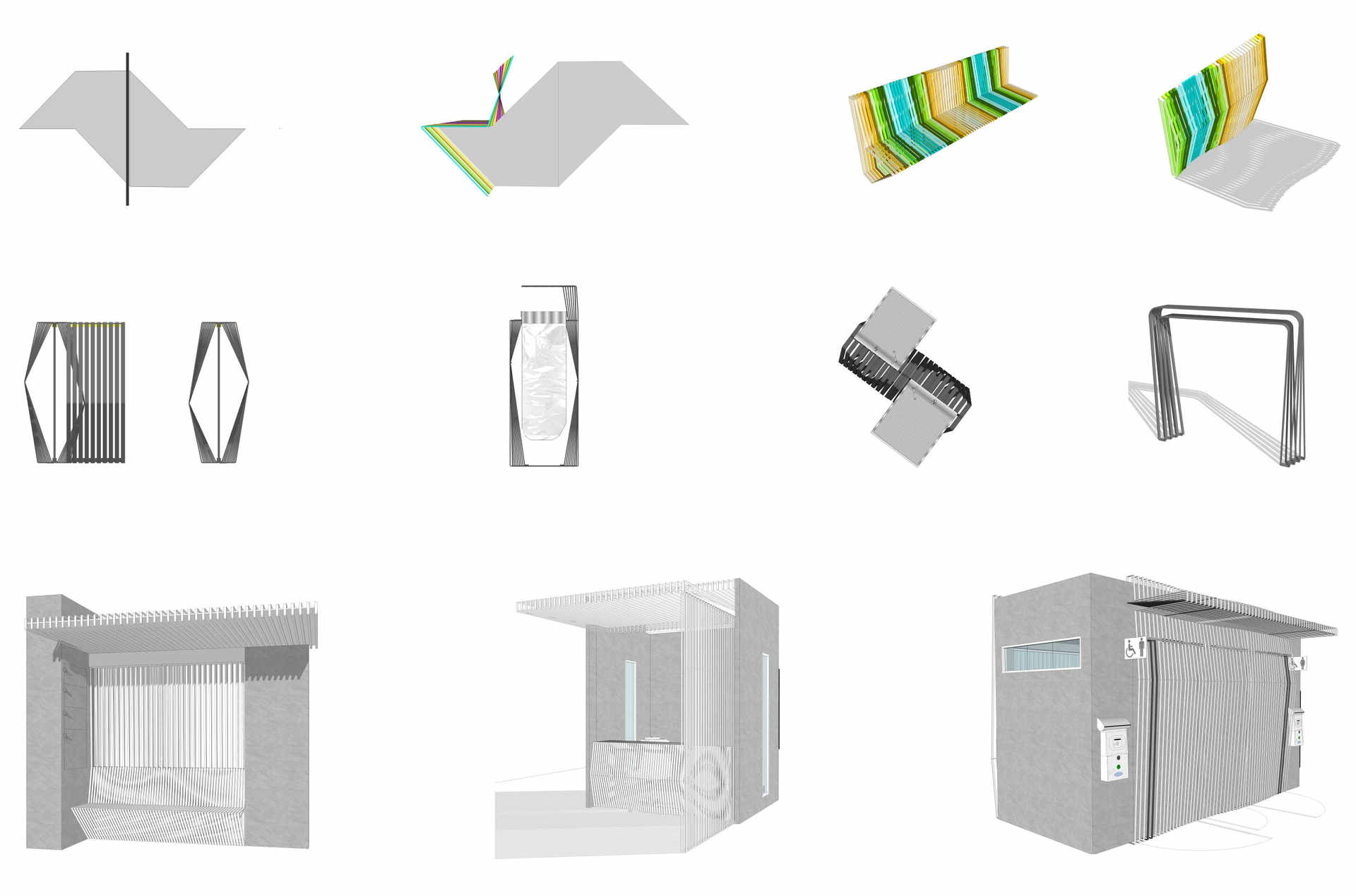 sequencia de criação conceito mobiliário urbano