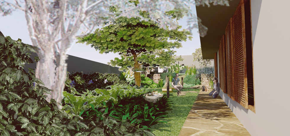 ilustração jardim de sombra