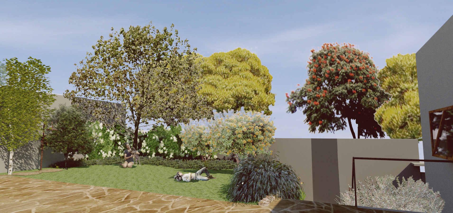 ilustração jardim da frente