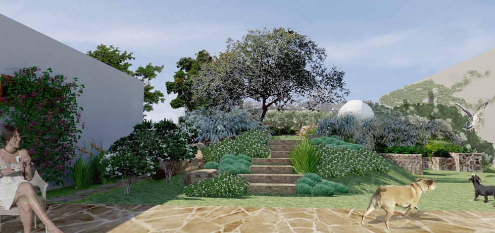ilustração jardim do quintal