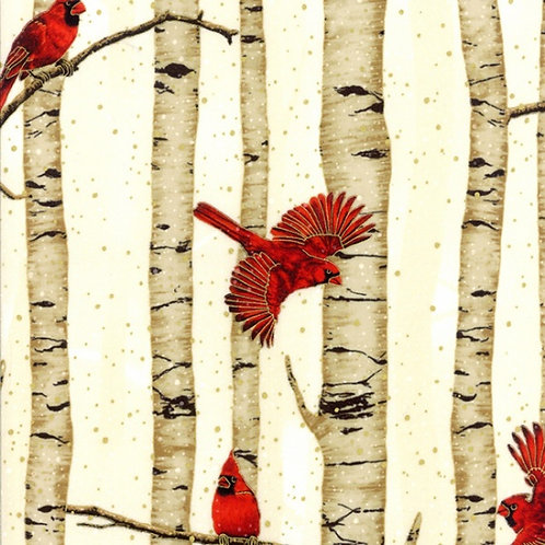 Cardinals in Birches Gold/Natural
