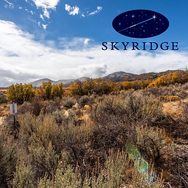 Picture of a mountainside with sage and yellow trees with the logo for SkyRidge HOA over the top.