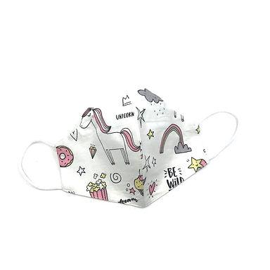 Beyaz Unicorn  %100 Pamuklu  2 katlı Çocuk Maskesi