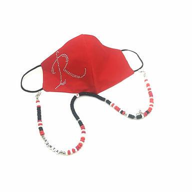 Kırmızı Swarovski Harfli Yıkanabilir %100 Pamuk Çocuk  ve Yetişkin Maskesi