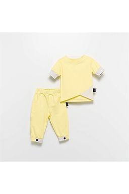 Moi Noi Paçası Düğmeli Sarı Çocuk Alt Üst 2'li Takım