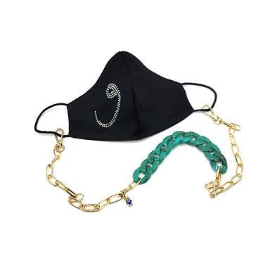 'VAV'Harf Swarovski Taşlı  Yüz Aksesuarı  ve Yeşil  Kemik Gold Boyun  Zinciri