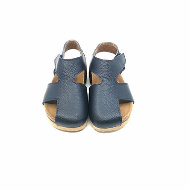 Lacivert  Hakiki Deri Moots Sandalet