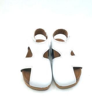 Beyaz Hakiki Deri Moots Sandalet