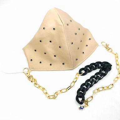 Cappucino Siyah Zımba Yıkanabilir Yüz Aksesuar ve Siyah Kemik Gold Boyun Zinciri