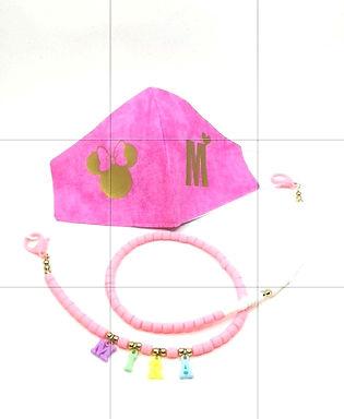 Pembe Mickey Gold Harfli Yıkanabilir %100 Pamuk Çocuk  Maskesi