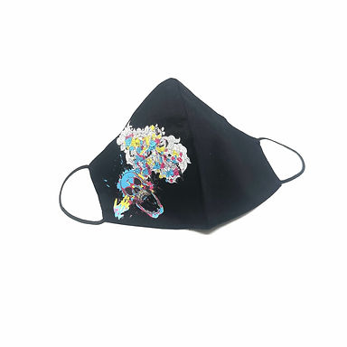 Siyah Kuru KafaYıkanabilir %100 Pamuk Yetişkin  Maskesi