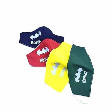 Batman Çocuk Renkli İsimli Yıkanabilir Yüz aksesuarı