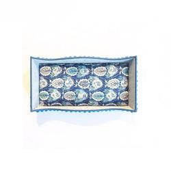 ®_🕊🕊🌿_リバティプリントのプラトー_#blue_#plateau_#libertyprint _#cartonnage _#handmade _#checkandstripe_#カルトナージ