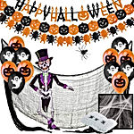 Jonami Deco Halloween Decoration Halloween XXL - Banderole Banniere Happy Halloween, Guirlandes Citrouilles, Ballons, Toile d'Araignees, Araignee Geante, Squelette Articule, Tissu Effrayante Noir