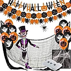 Jonami Deco Halloween Decoration Halloween XXL - Banderole Banniere Happy Halloween, Guirlandes Citrouilles, Ballons, Toile d'Araignees, Araignee Geante, Squelette Articule, Tissu Effrayante Noir