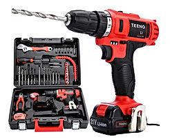 TEENO Perceuse visseuse sans fil PSR 21V+ 2 batteries lithium + 41 accessoires+ gants professionnels