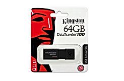 Kingston DT100G3/64GB DataTraveler 100 G3, USB 3.0, 3.1 Flash Drive, 64 GB, Noir