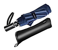 Newdora Parapluie Pliant, Parapluie Coupe-Vent & Ultra-léger, Ouverture et Fermeture Automatique, Parapluie Compact Incassable 10 Baleines pour Homme Femme Voyage Garantie à Vie(Bleu Foncé)