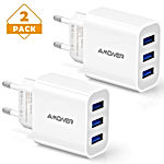 Chargeur Secteur USB 3 Ports Universel Chargeur Mural (5V 3A Max) Adaptateur USB Universel pour Apple iOS, Android, Appareils Portable Windows etc(2 Pack) (Blanc)