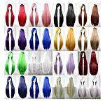 Perruques Cosplay pour Femmes Longue Raides Synthétique Blonde Rouge Noir Cheveux pour