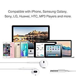 Écouteurs Intra-Auriculaires Filaires avec Télécommande et Microphone Contrôle du Volume Stéréo Isolation du Son pour iPhone, iPod, iPad, Samsung, Téléphones Android