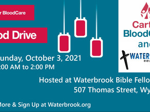 Waterbrook Hosts Blood Drive - Sunday, Oct.3, 2021