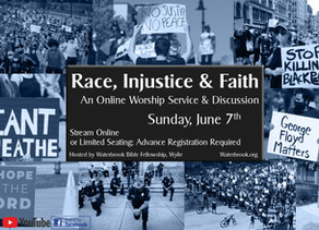 Race, Injustice & Faith: A Special Online Event Sunday, June 7th