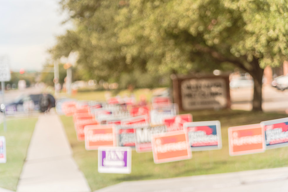 Blurred image row of yard sign at reside