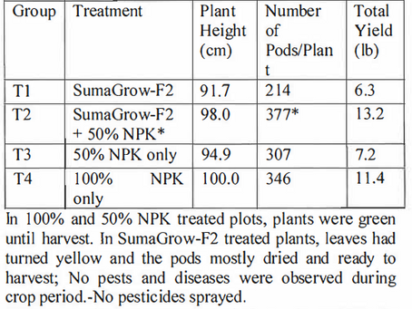 Trial Results - Lalitha-21 vs Conventional Fertilizer (Soybeans)