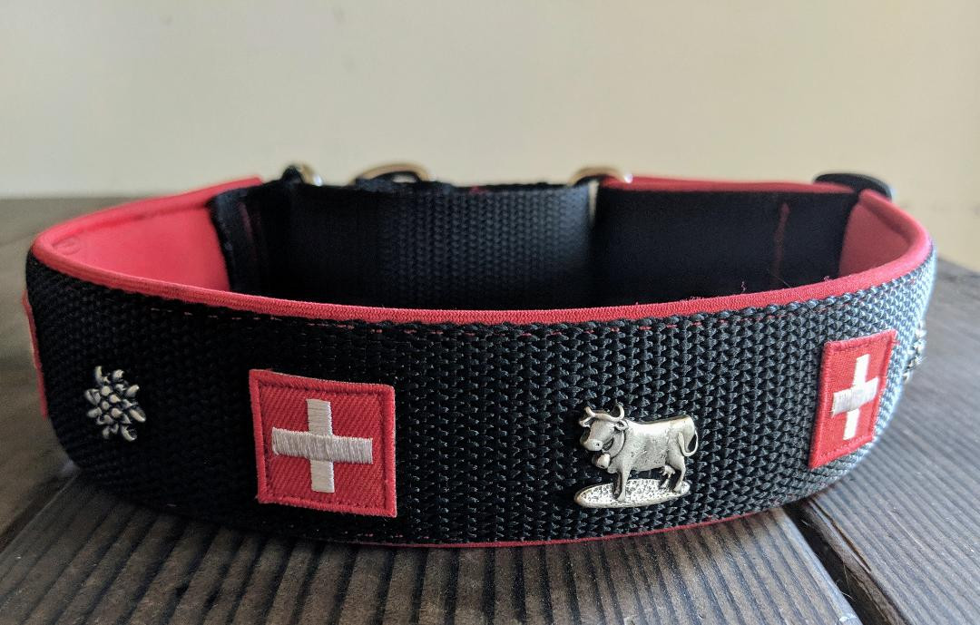 red and black with flags and rivets