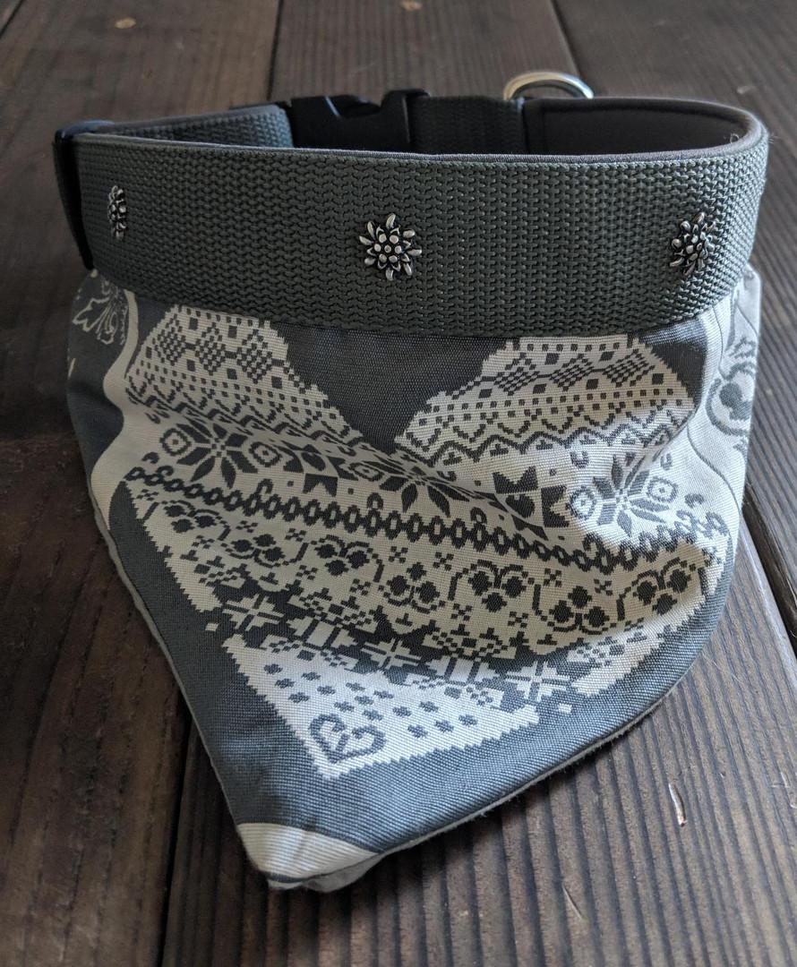 2 in 1 grey edelweiss rivets bandana hea