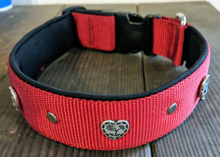heart and horse shoe rivets, red nylon,