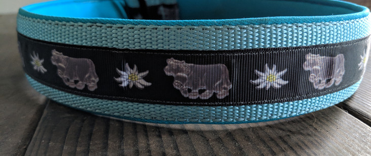 cow and edelweiss ribbon, ocean blue nyl