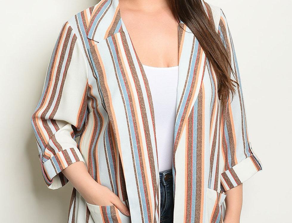 Cream Multi Stripes Plus Size Blazer