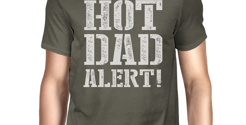 Hot Dad Alert Men's Dark Gray Round Neck T Shirt