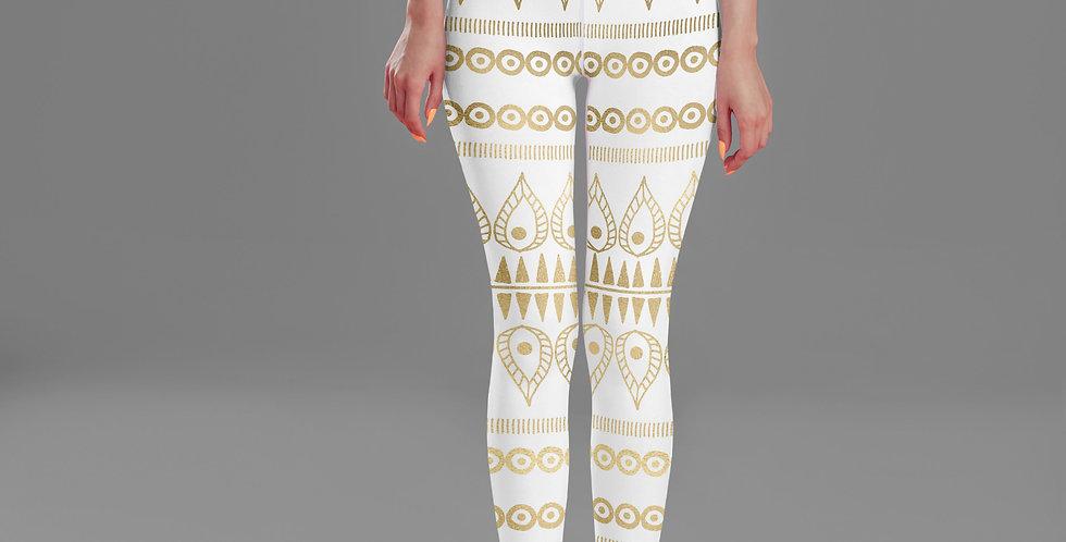 Bohemian Gold White High Waist Yoga Leggings