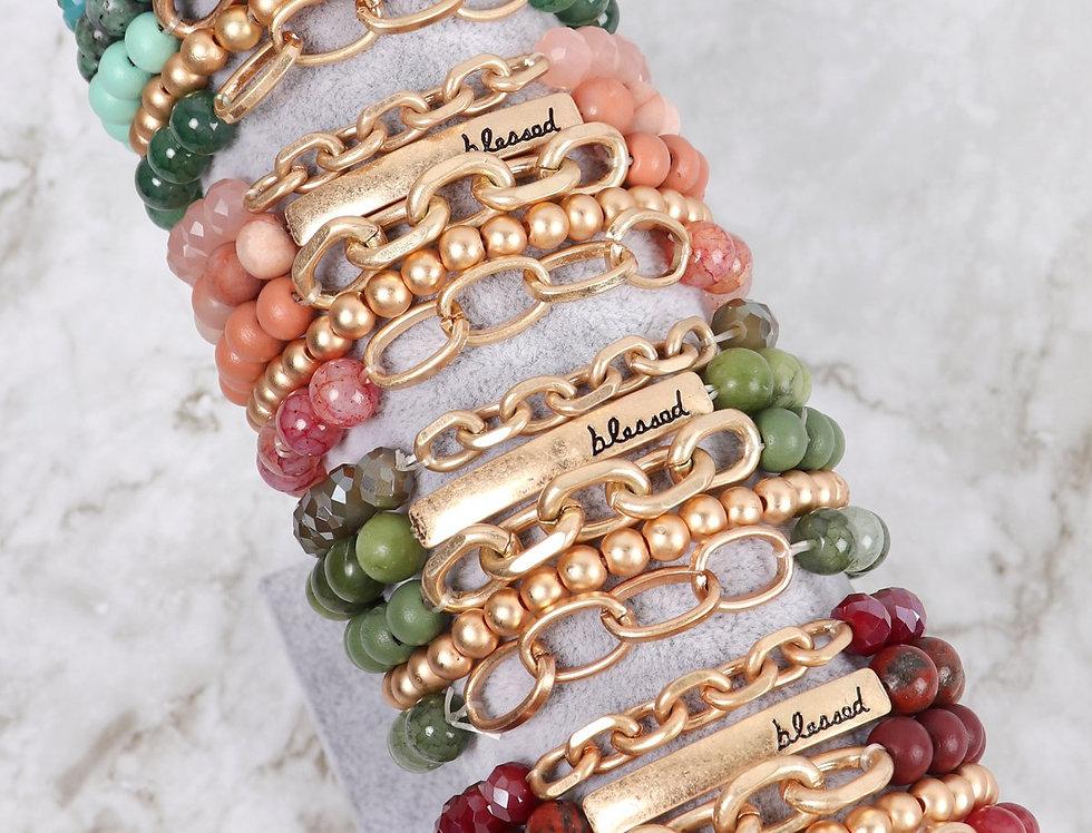 """""""Blessed"""" Charm Multiline Beaded Bracelet"""