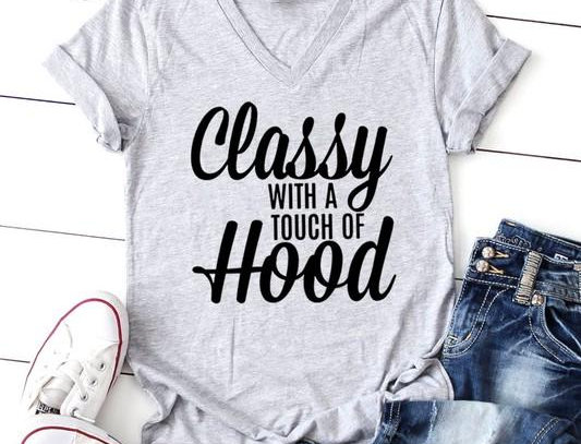 Classy With a Touch of Hood  V-Neck T-Shirt