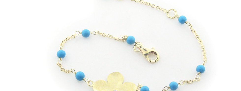 .925 Sterling Silver Hammered Flower and Turquoise Bracelet Dipped in Gold, 6""