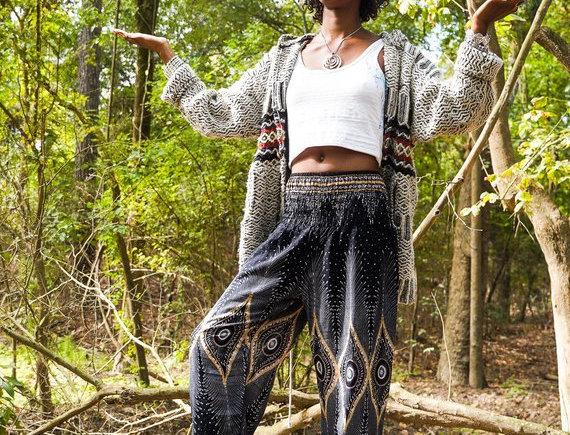 Black PEACOCK Women Boho Pants Hippie Pants Yoga Pants