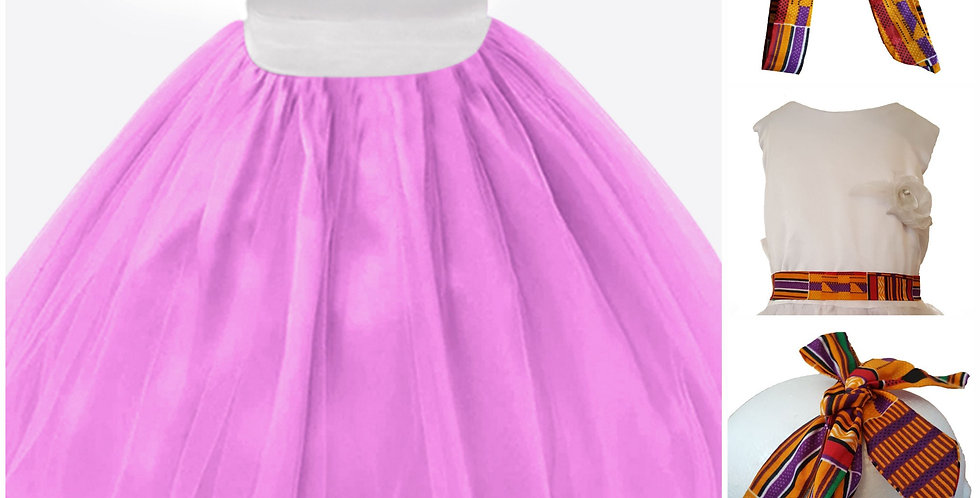 FINAL SALE  African Print White and Pink Girls Dresses - Flowers, Bridal