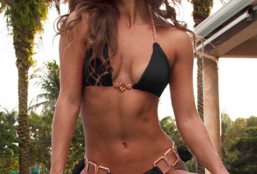 Handmade Rose Gold Chain Bathing Suit Bikini Triangle Top & Tie Side Bottom