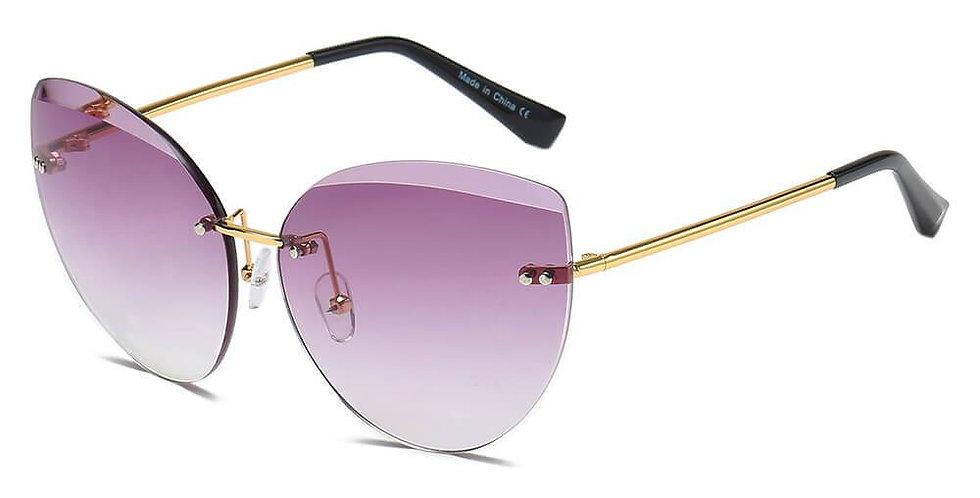 Rimless Round Cat Eye Sunglasses