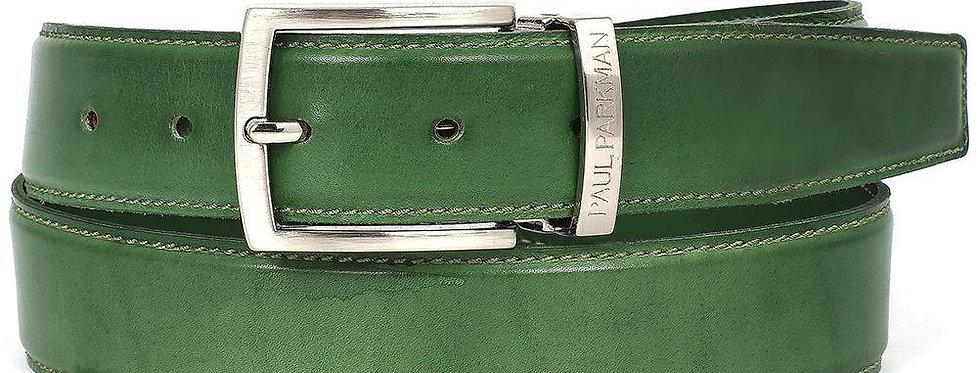 PAUL PARKMAN Men's Leather Belt Hand-Painted Green (ID#B01-LGRN)