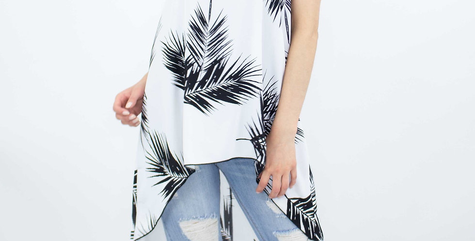 High and Low Sleeveless Black & White Top