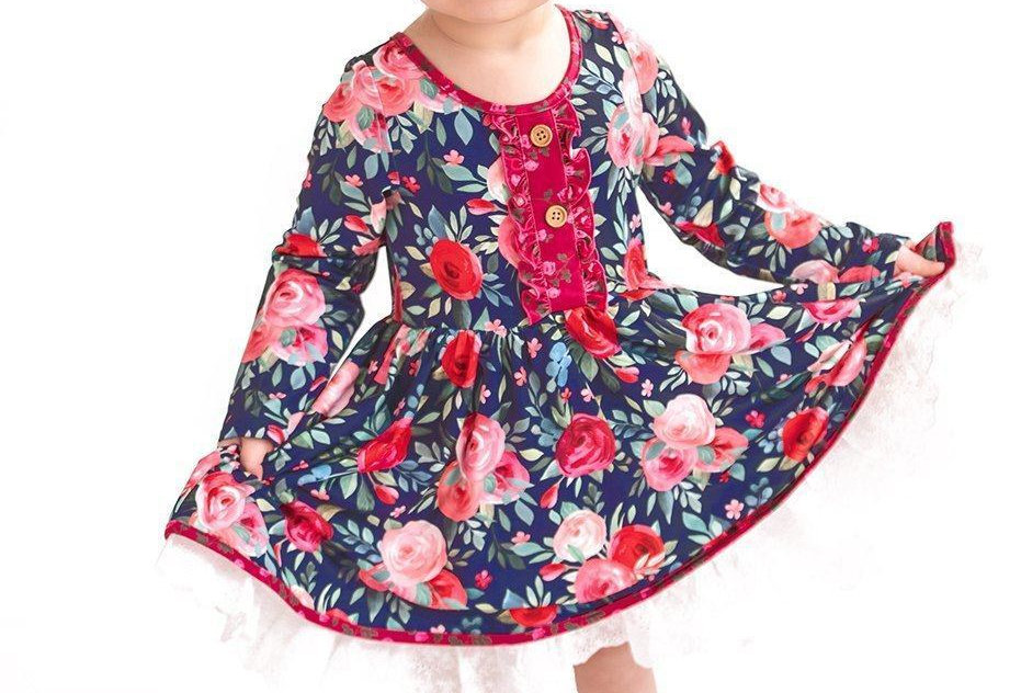 Navy & Pink Vintage Twirl Hugs Dress - RTS