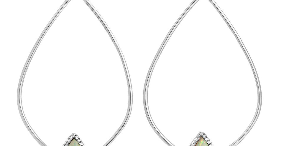 Tempest Silver White Opal Earrings