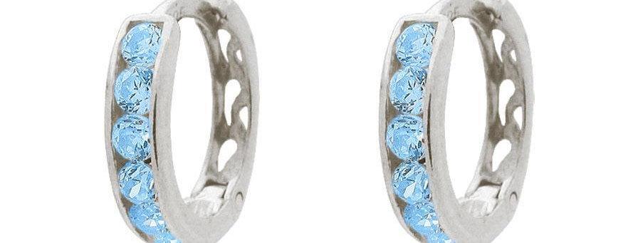 BecKids Sparkling London Blue Sterling Silver Huggie Earrings for Girls