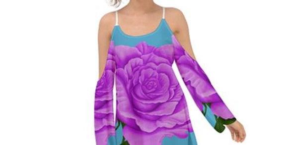 Purple Aqua Rose Kimono Sleeves Womens Boho Dress